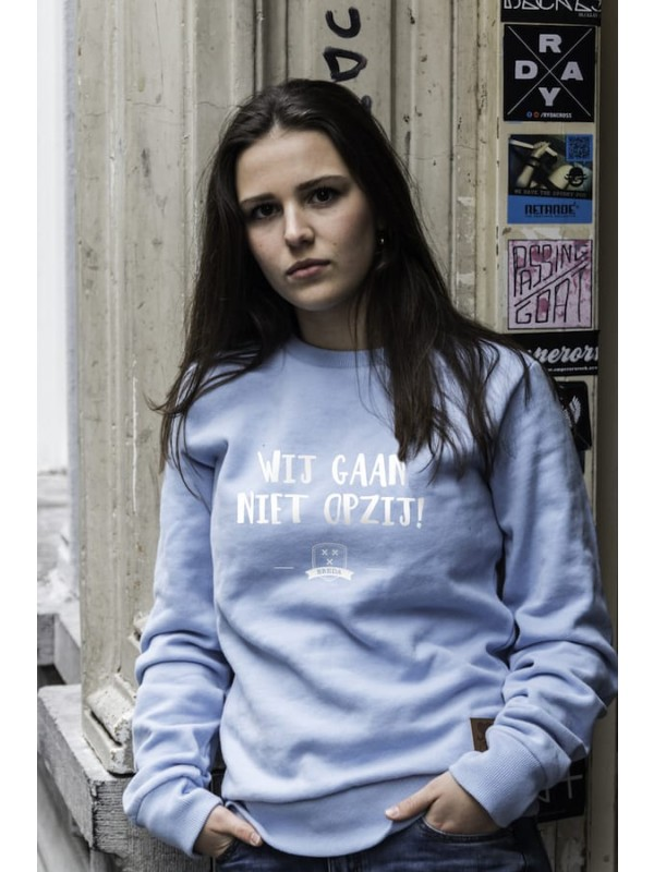 Sweater licht blauw | opzij wit