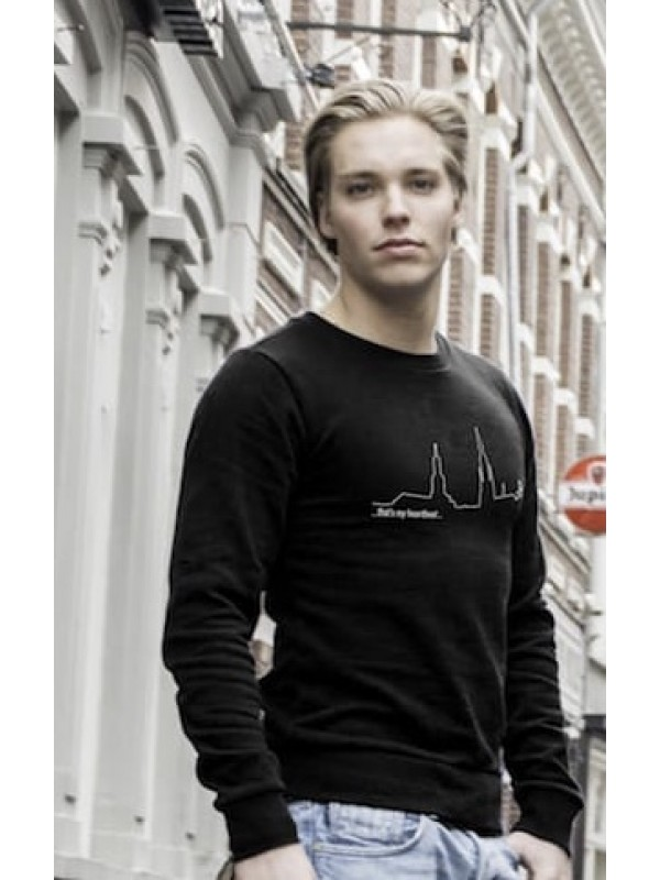 Sweater zwart | Heartbeat wit