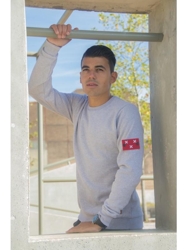 Sweater Grijs | Embleem Mouw Breda rood