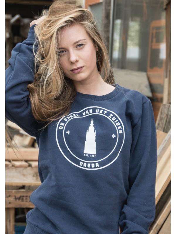 Sweater donker blauw | Parel wit