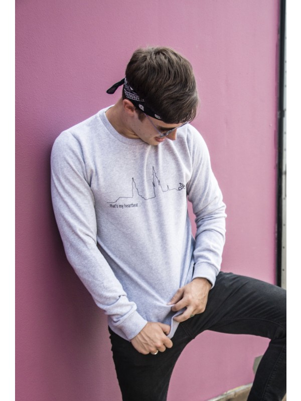 Sweater grijs | Heartbeat zwart