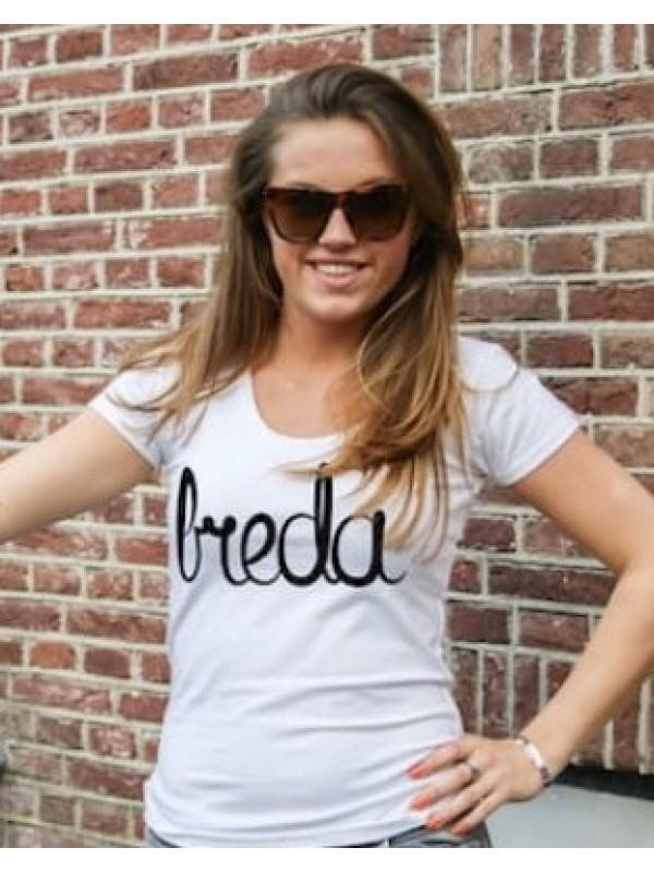 Shirt wit | Breda zwart