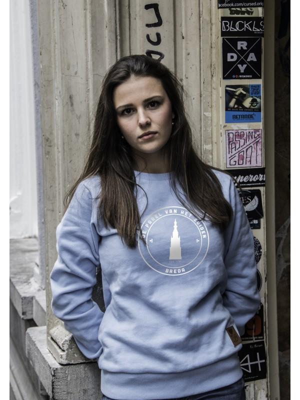 Sweater licht blauw | parel wit