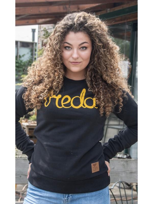 Sweater zwart | Breda geel