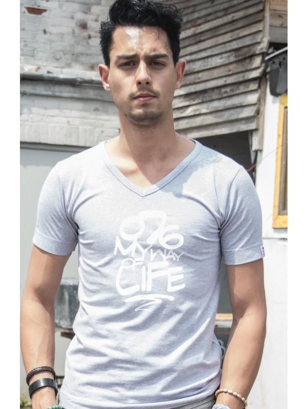 Shirt grijs | 076MWOL wit