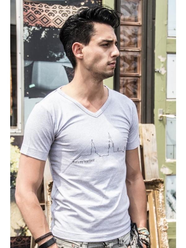 Shirt Grijs | Heartbeat zwart