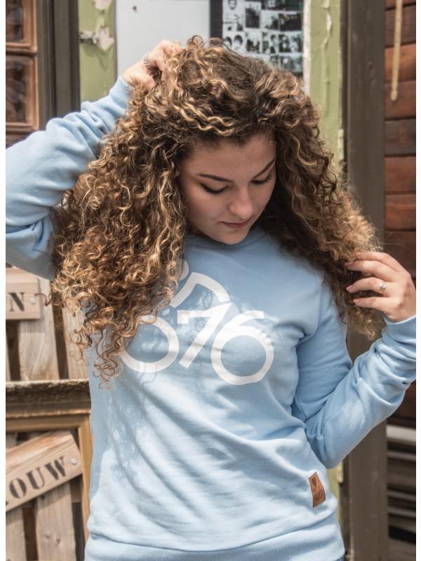 Sweater licht blauw | 076fiets wit
