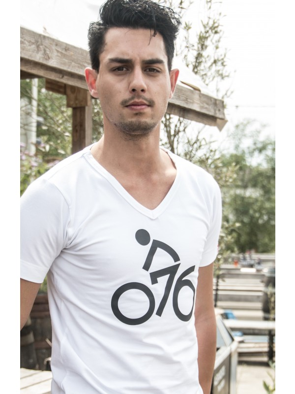 Shirt wit | 076fiets zwart