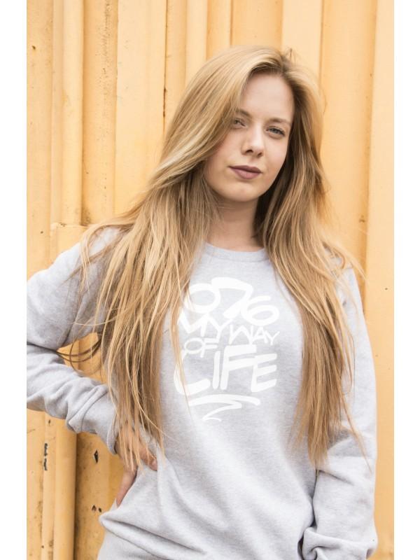 Sweater grijs   076MWOL wit